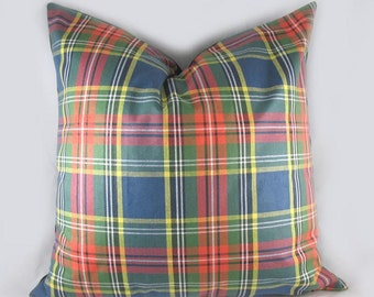 Robert Allen -Tartan Plaid - Decorative Pillow Cushion Cover - Accent Pillow - Throw Pillow - Red , Blue, Green - Traditional - Classic