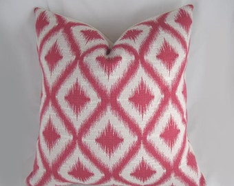 Robert Allen - Woven Jacquard Ikat Fret Raspberry - Decorative Pillow Cushion Cover - Accent Pillow - Throw Pillow