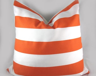 Orange Awning Stripes - Indoor Outdoor - Decorative Pillow Cushion Covers - Accent Pillow - Throw Pillow