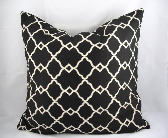 Decorative Pillow Cushion Cover - Accent Pillow - Throw Pillow - Chippendale Fretwork Onyx Black and Stone - Indoor Outdoor