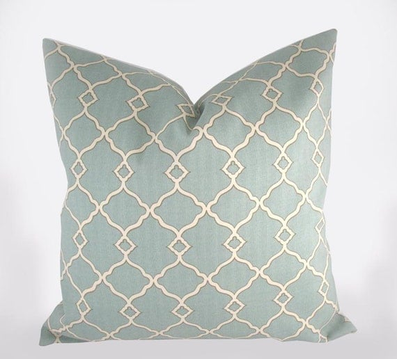 Decorative Pillow Cushion Cover - Accent Pillow - Throw Pillow - Chippendale Fretwork Mineral, Dusty Teal - Indoor Outdoor