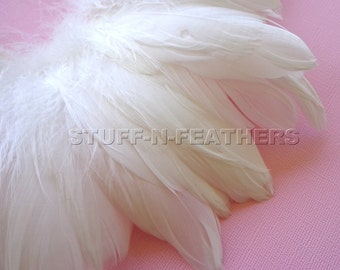 White / Off white feathers GOOSE NAGOIRE real natural white feather for millinery, weddings, accessories, crafts / 3-6 in (7.5-15 cm)/ F87-3