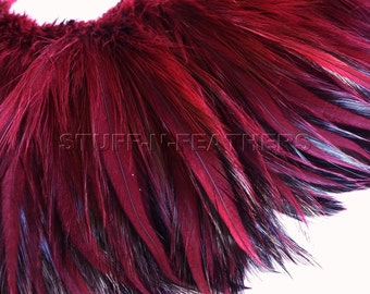 Rooster feathers - Red Wine furnace hackle feathers - for millinery, crafts, jewelry making, hair, fishing / 4-5 in (10-13 cm) long / F89-4