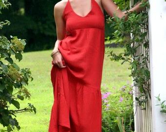 Organic Three Tiered Maxi Halter Dress w/ Open Back, Fair Trade-Ready To Ship