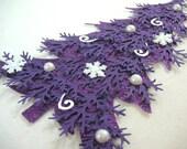 Decorated Purple Glitter Christmas Tree Embellishment -Christmas Tag, Embellishment, Scrapbook, Cards, Shabby Chic