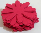 Red Daisy scrapbook paper flowers, Cardstock, Die Cut, 2 inch, Embellishment, Scrapbook, Tags, Weddings