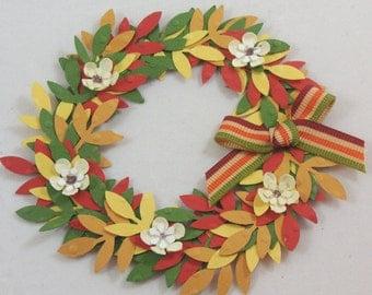 Fall Wreath, Handmade Scrapbook Embellishment, Thanksgiving embellishment, Cards, Topper, Embellishments, Gift bag decoration