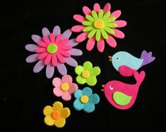 8 Scrapbook Felt Embellishments, Flowers, posies and birds