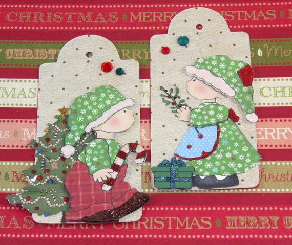 Country Kids Christmas Tag, Embellishment, Scrapbook, Cards, Journal, Gift Tag