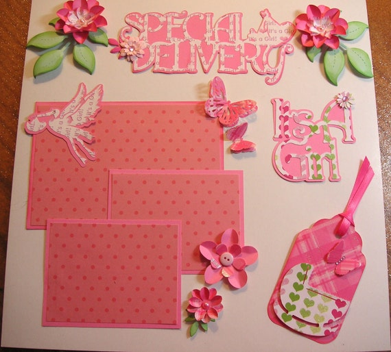 Sweet Baby GIRL Embellishments, Flowers, Butterflies, Tag, Mats, Titles, Scrapbook, Cards
