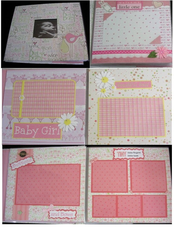 Custom Order - Baby GIRL's Premade Scrapbook, 20 page Album, 8 x 8 OOAK