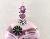 Pink & Purple Glass Lampwork Focal Bead Pendant - SRAJD