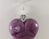 Glass Heart Lampwork Focal Bead Pendant in Purple - SRAJD