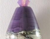 Handmade Glass Lampwork Pendant SRAJD, Purple, Ivory, Silver