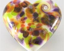 Handmade Lampwork Heart Focal Bead, Orange, White, Green, Purple Brown - SRA, LE Team, DUST Team