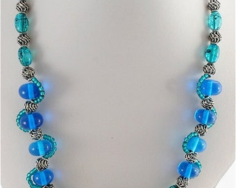 Turquoise & Blue Lampwork Necklace