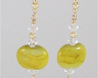 Lampwork & Swarovski Crystal Earrings - SRAJD