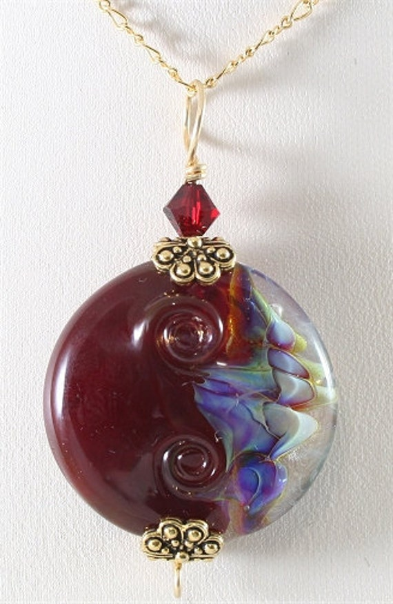 Red, Blue, Purple Handmade Glass Lampwork Pendant SRAJD