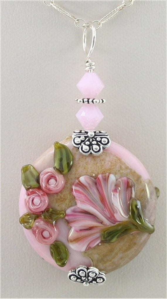 Pink Floral Handmade Glass Lampwork Pendant SRAJD, Pink, Silver, Green, DUST Team