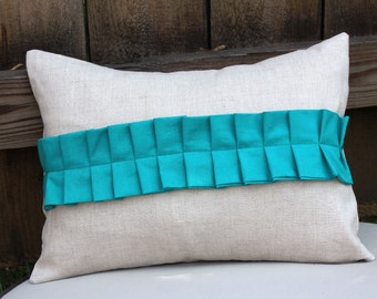 Modern Pleat Pillow Cover-Teal and linen 12x16