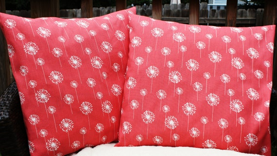 18x18 Coral Dandelion Pillow Cover Set