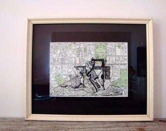 Framed Seamstress Print on Vintage Map of Melbourne, Australia, 6 x 8