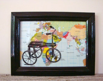 Framed Tricycle Print on Vintage Map of the World, One of A Kind, 6 x 8""