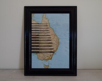 Framed Paintbrush, Artist Print on Vintage Map of Australia A4
