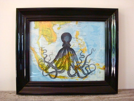 """Octopus Original Print on a Vintage Map of South East Asia, 8 x 10"""""""