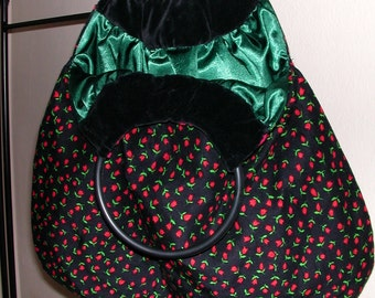 SALE** 40%OFF** Upcycled, Reversable, Handbag. Kitsch, Rockabilly, Retro style. Red Flowers, Velvet, Satin.