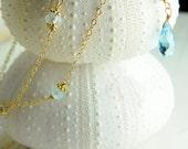 Bridesmaid Gift Sets, Bridesmaid Bracelets, Bracelet, Wrap Bracelet, Gold, Sky Blue Topaz, Double Wrap Bracelet, Dainty, Fine Gold Chain