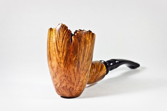 Freehand briar pipe, smooth with rustic top.