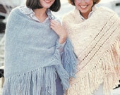 Knit Shawl With Fringe Set Of Two 1970's Vintage Knitting PDF PATTERN - Set of 2 padurns