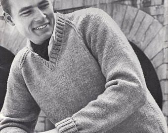 Knit Mens V-Neck Pullover with Raglan Sleeves Vintage Knitting PDF PATTERN Retro Mad Men