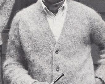 Knit Mens V-Neck Cardigan with Raglan Sleeves All-In-One Vintage Knitting PDF PATTERN Retro Mad Men