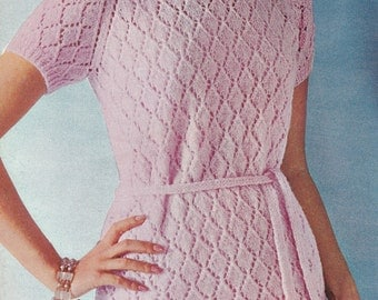 Knit Womens Diamond Dress Vintage Knitting PDF PATTERN Retro Mad Men
