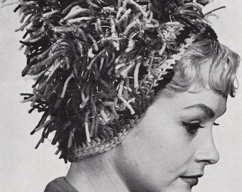 Crochet Womens Fringe Hat With Metallic Yarn Vintage Crocheting PDF PATTERN