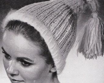 Knit Stocking Hat 1960's Vintage Knitting PDF PATTERN