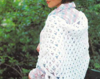 Crochet Shell Shawl 1970's Vintage Crocheting PDF PATTERN