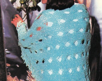 Knit Diamond Cutout Shawl With Fringe 1970's Vintage Knitting PDF PATTERN