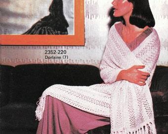 Knit Afgan Stitch Shawl With Fringe 1970's Vintage Knitting PDF PATTERN