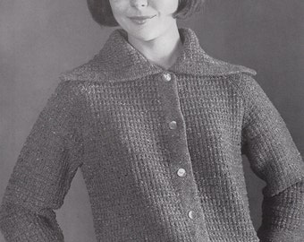 Knit Womens Raglan Cardigan With Pockets 1960's Vintage Knitting PDF PATTERN Retro Mad Men