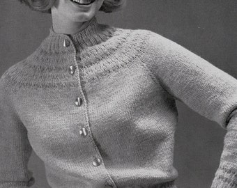 Knit Womens Cardigan With Raglan Sleeves Vintage Knitting PDF PATTERN Retro Mad Men