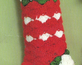 Crochet Christmas Stocking Vintage Crocheting PDF PATTERN Retro padurns