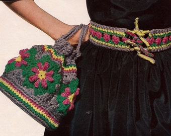 Crochet Motif Bag and Belt 1950's Vintage Crocheting PDF PATTERN