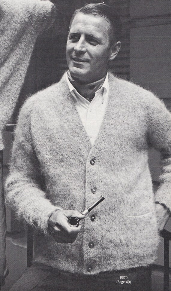 Knitting Pattern Mens Raglan Cardigan : Knit Mens V-Neck Cardigan with Raglan Sleeves All-In-One
