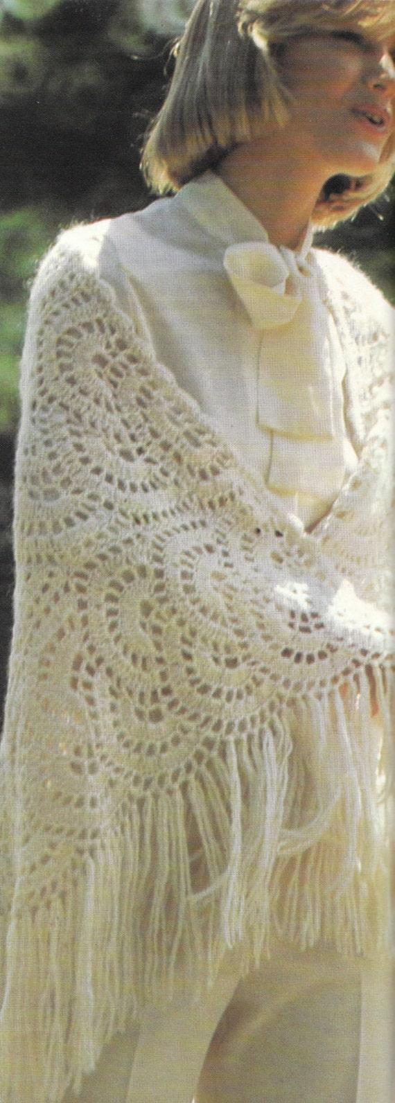 Crochet Patterns For Shawls Vintage : Crochet Semicircle Motif Shawl 1970s Vintage Crocheting