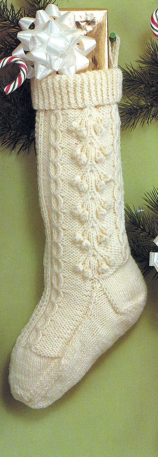 Old Knitting Patterns : Knit Christmas Fisherman Stocking Vintage Knitting PDF PATTERN