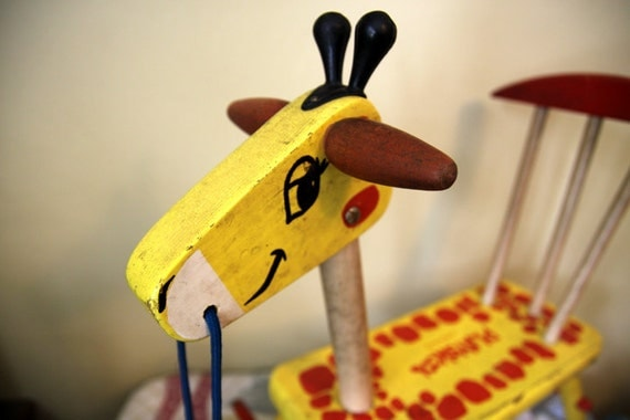 Toys For Age 70 : Vintage playskool wooden giraffe ride on toy