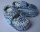 Blue fair isle effect baby booties - crocheted with button fastening - size 3 to 6 months